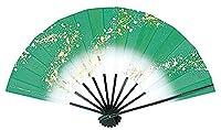 舞扇子 愛 1200-1529 流水 ぼかし 9寸5分 黒塗骨 扇子箱入 踊り用 (緑)