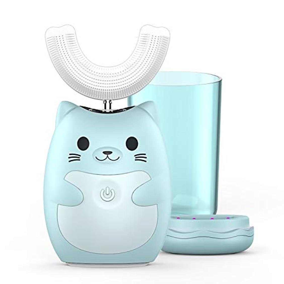忌まわしいチキン状敏感な歯に適した音波振動と歯茎マッサージ機能を備えた子供用電動歯ブラシは U字型のオールラウンド口腔洗浄で 新生児ヒヒと子供向けに設計された口腔衛生を促進できます(7-12歳 ブルー)