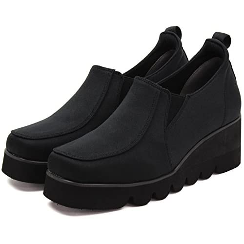 (らくちん) rakuchin 足長美脚 3E 厚底 ウェッジソール 撥水 スリッポン スニーカー 黒 ブラック 24.0