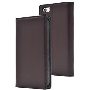 PLATA iPhone5 / iPhone5s / iPhoneSE ケース 手帳型 ラム シープスキン 羊革 本革 レザー カバー 【 ブラウン 茶 ぶらうん brown 】 IP5-8800BR