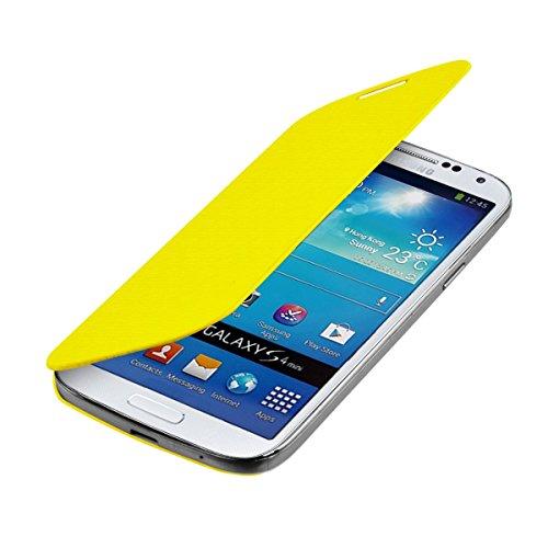 kwmobile フリップスタイル ケース カバー Samsung Galaxy S4 Mini用 ふた付き保護ケース バッグ 黄色