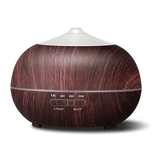 Tenswall 超音波式 400ml アロマディフューザー 加湿器 7色LEDライト変換 木目調