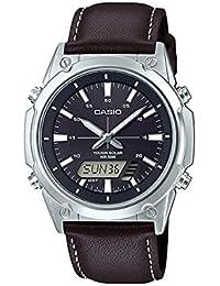 CASIO AMW-S820L-1A ブラック 黒色 ダークブラウン レザーベルト 革ベルト 多機能 タフソーラー アナログ デジタル 50M防水 カシオ ソーラー ビジネスウォッチ シンプル 男性用 腕時計 メンズ ウォッチ 国内未発売 [並行輸入品]