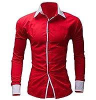 Qiangjinjiu メンズカジュアルロングスリーブプリントドレスシャツ カジュアルボタンダウン レギュラーフィットメンズシャツ Red S