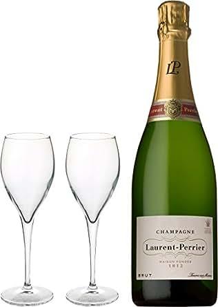 シャンパンギフト ローラン・ペリエ ブリュット L・P <ロゴ入りフルートグラス2脚付>: 食品・飲料・お酒