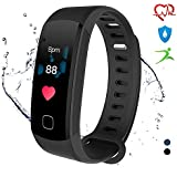 Fitness Trackers HR, ALANGDUO Waterproof Activity Trackers with Heart Rate Monitor Step Counter for Sport Exercise, Smart Bracelets for Adults Men Women