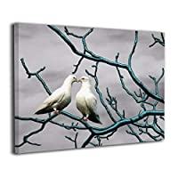 Hao Jinsun Teal Gray White Bird On Blue Branch キャンバス アートボード アートフレーム インテリア絵画 おしゃれ モダン フレーム 部屋飾り 絵画 壁掛け アートストリート バンクシー ポスター