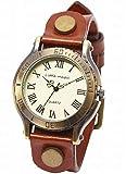 [リトルマジック](※B級品 ブラウン Mサイズ・フェイス+ベルト) ダイヤル風 日本メーカ製クオーツ アンティーク風 イタリアンレザー 本革 腕時計 レディース LM1287