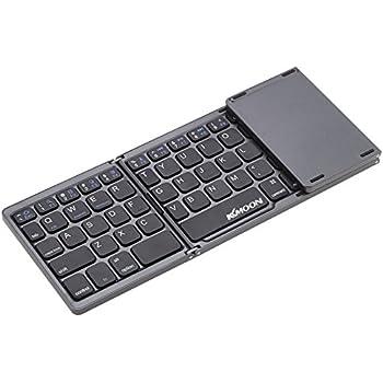 Kkmoon 折りたたみキーボード ワイヤレスキーボード Bluetoothキーボード ウルトラスリムキーボード タッチパッド付き iPhone 6s/iPad Pro/MacBook 帯電話タブレットPCに対応