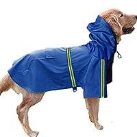 [QIFENGDIANZI]犬用レインコート ポンチョ 中型犬 大型犬 小型犬 雨具 防寒防水防風 犬用合羽 汚れ防止 濡れない 梅雨 丸ごと包み 繰り返し洗える 通気 帽子付折り畳み 散歩用 お出かけ 犬服 四季用 ペット用品 ライフジャケット ダークブルー S