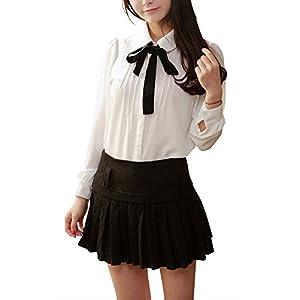 (ユニグランド) Unigrand ボウタイ リボン 付 ブラウス レディース シフォン シャツ フォーマル カジュアル ワイシャツ ホワイト ブラック (ホワイト M)