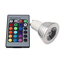 Ruiyue GU10 RGB LEDスポットライト3 W LEDランプ85-265Vランプ高出力16色変更可ホームインテリア赤外線リモコン (Weight : 3W)