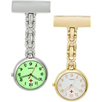 SEWOR Unisex Medical staff Hanging Pocket Watch 2pcs With Brand Leather Gift Box