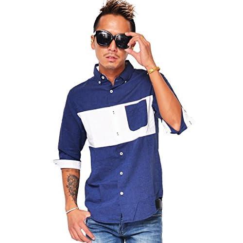 キャンディーファンタジー(CANDY FANTASY) 半袖シャツ メンズ 半袖 シャツ カジュアルシャツ ボタンダウンシャツ 綿麻 L ネイビー/ホワイト