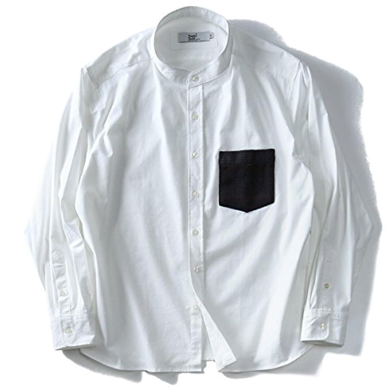 水を飲む強化告白するDANIEL DODD 長袖バンドカラーウールポケットシャツ 717-170401 大きいサイズ メンズ【901.オフホワイト-2L】