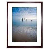 Photo Seascape Beach Pier Legs Ocean Ruin Sand Sky Framed Wall Art Print