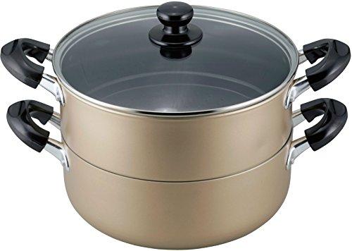 和平フレイズ 両手鍋 蒸し器 二段 25cm IH対応 ふっ素樹脂加工 おおらか鍋 OR-7132
