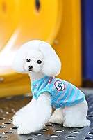 手紙ストライプ犬のベストTシャツ夏のスタイル猫ペット犬の服犬のチワワテディかわいい綿100%の場合:ブルー、M