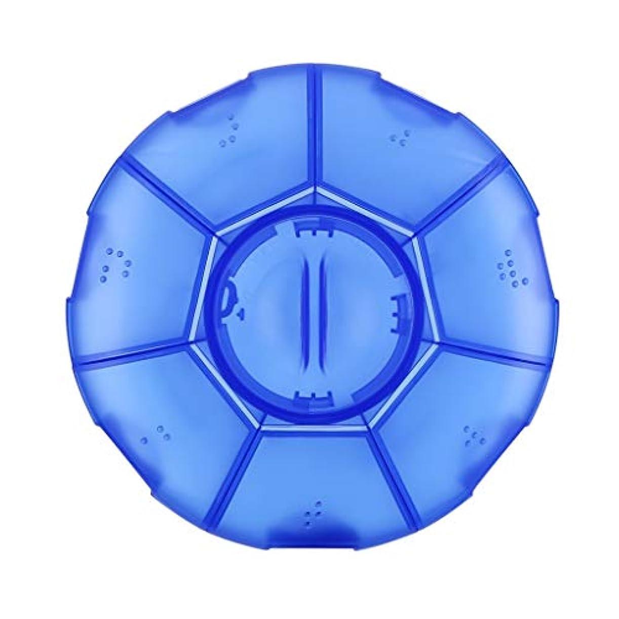 WXYXG 小型薬箱携帯用1週間の貯蔵そして小型薬の薬箱が付いている薬箱の貯蔵は丸薬箱を密封しました (Color : Blue, Size : 12.5cm×12.4cm×2.9cm)