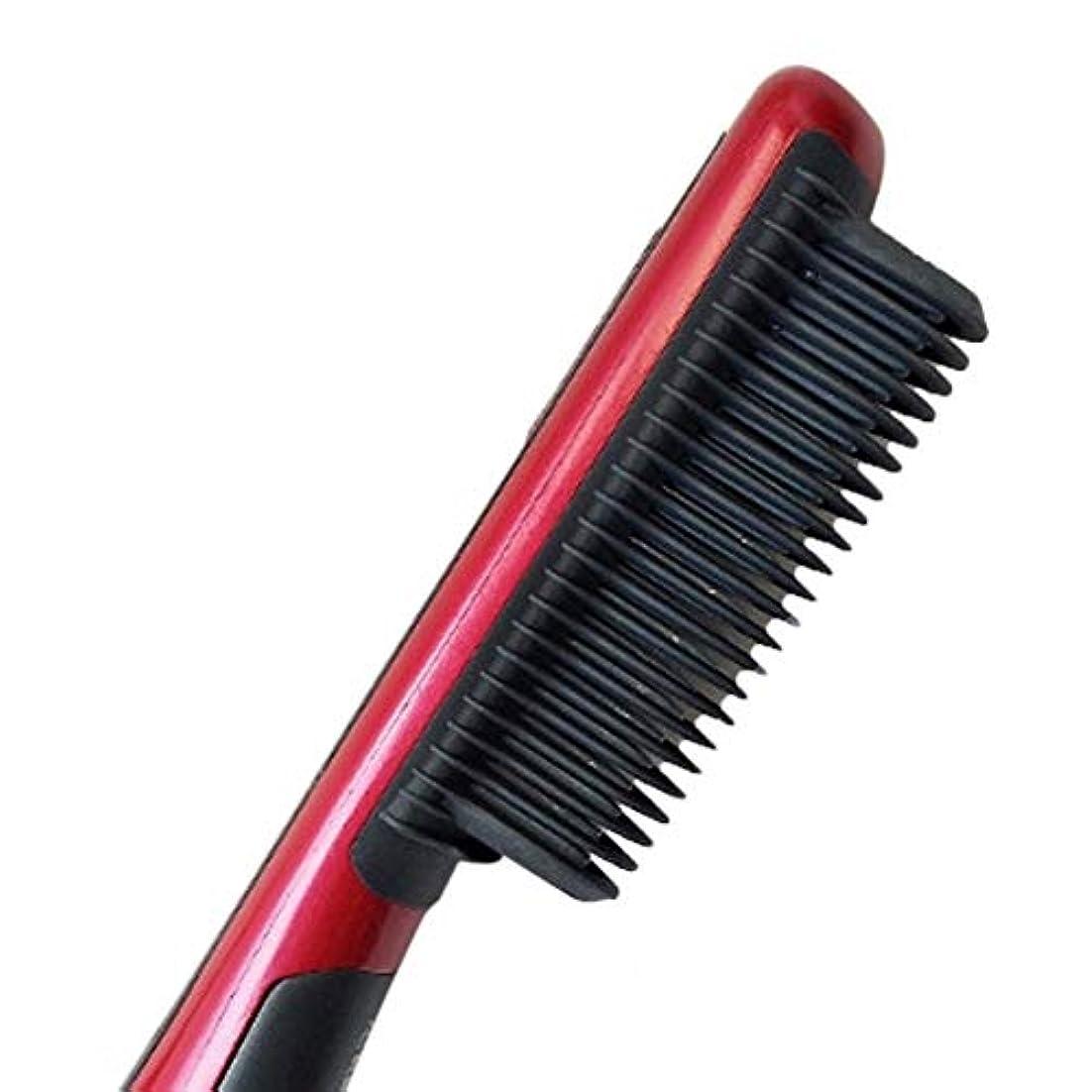 ストリーム決めます塗抹Jiashenghuang ひげ矯正ストレートヘアストレートブラシミニウェットバティフ櫛櫛メンズひげストレートヘアアイロン (Color : US)
