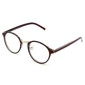 Cyxus(シクサズ)ブルーライトカットメガネ [透明レンズ] PCメガネ パソコン用メガネ 視力保護 輻射防止 目の疲れを緩和 肌に優しい 睡眠改善 ファッション 復古円形 男女兼用(濃い茶色)