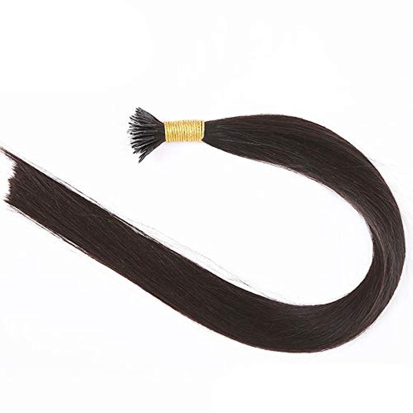 突然の煙原稿JULYTER レミーティップフュージョンアンボードヘアブラック実際のブラジルの毛髪ナノエクステンションナノチップヘアストランド50グラム (色 : 黒, サイズ : 40cm)
