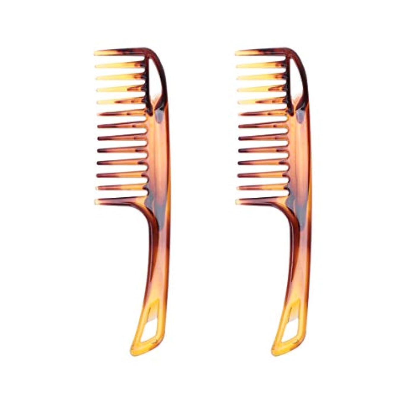 合わせて夫スマッシュLurrose 2Pcs Long Handle Conditioning Rake Comb for Men Women Bathroom