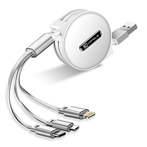 CAFELE 巻き取り式 3in1 充電ケーブル Type-C/Micro USB対応ケーブル 同時給電可 データ転送 1.2m (ホワイト)