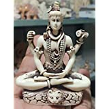 RK Collections 3.25in Lord Shiva Statue in Lotus Pose in Antique Ivory Finish. Lord Shiv/Shiva Statues.