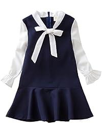 女の子 純色 長袖 半袖 ワンピース プ リンセスドレス プリーツスカート ロンドン風 学院風 蝶結 びシフォン 海軍風 ドレス100-160CM