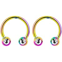14G 12mm Surgical Steel Front Facing CZ Crystal Nipple Piercing Horseshoe Rings, Sold in Pairs