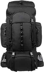 Amazonベーシック インターナルフレーム ハイキング バックパック レインフライ付属 65L ブラック