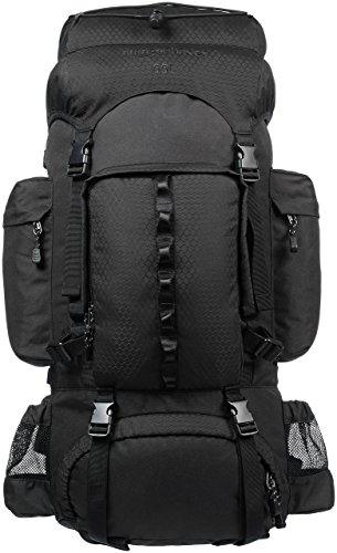 Amazonベーシック ハイキング バックパック インターナルフレーム レインフライ付属 55L ブラック