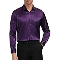 PJ PAUL JONES Men's Solid Color Shiny Satin Silk Like Dance Prom Dress Shirt