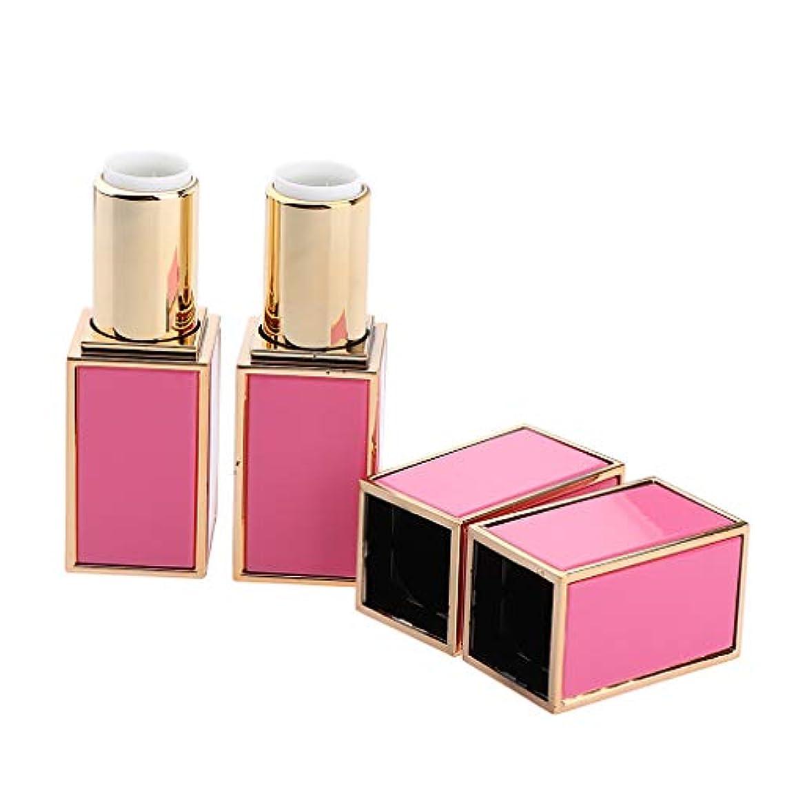 金銭的二次国家ポータブル 空 エンドグレードグレード 口紅チューブ 固体香水 詰め替え式 2色選べ - ピンク