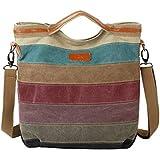 女性マルチカラーキャンバストートバッグクロスボディショルダーバッグ レディースハンドバッグ (色 : ストライプ, サイズ : Free size)
