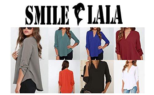 【Smile LaLa】 レディース Vネック ブラウス シャツ トップス シンプル 長袖 七分丈 モード ロール アップ 細め 薄手 シック (L, グリーン)