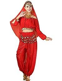 (アンブトンドール)ベリーダンス 衣装 レディース 半袖 ベリーダンス お祝い アラビアン衣装 社交ダンス衣装 全6色 4点セット ヘッドベール トップス ズボン ヒップスカーフ