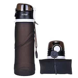 AcTopp 折りたたみ式ボトル 自転車 スポーツボトル 携帯式水筒 アウトドア シリコン製 超軽量 耐冷耐熱 750ml 全4色 (ブラック)