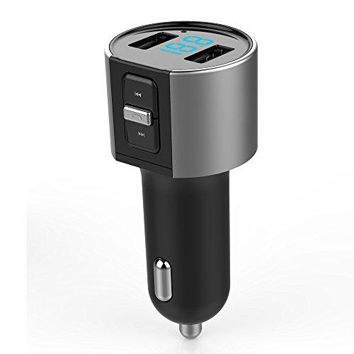 車載用FMトランスミッター USBカーチャージャー Bluetoothワイヤレスシガーソケッ 車載充電器 bluetoothリモコン ハンズフリー通話可能 高音質 音楽再生 2ポートUSB付き 電圧表示機能搭載 多機能ボタンコントロール搭載 電源12V-24V USB端子5V/ 3.4A (C26S)