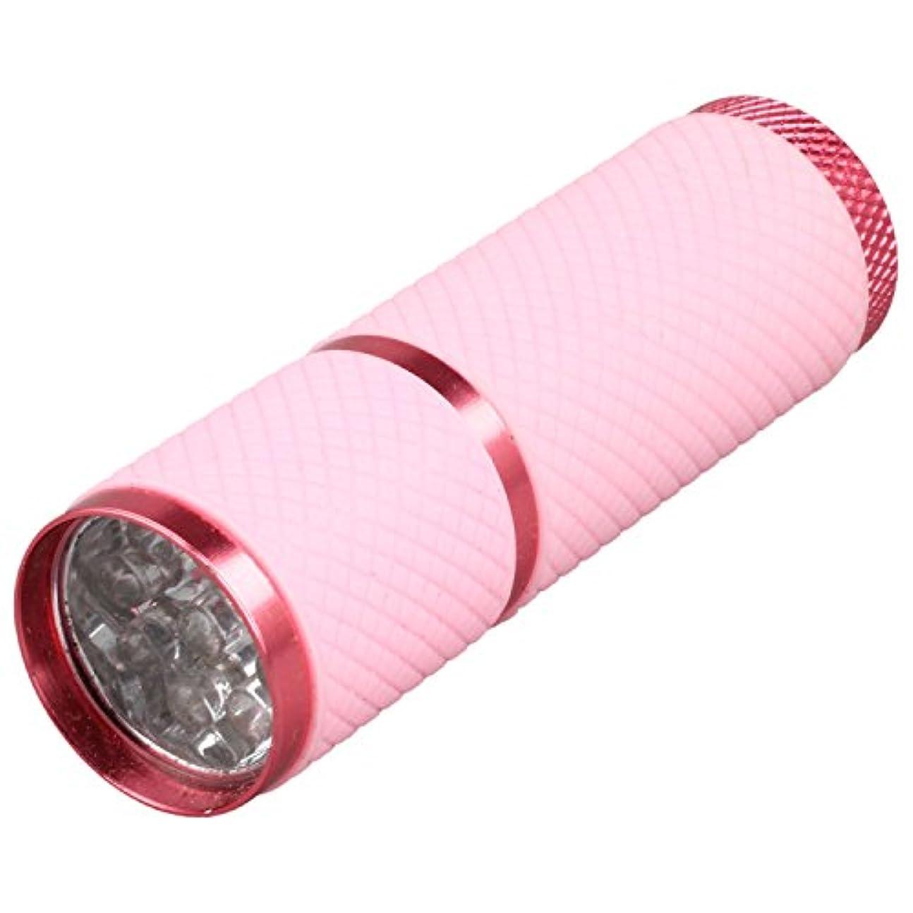 緊張普通の全体にSODIAL 1個 ミニ9 LED Uv ゲル硬化ランプ バッテリーなし 携帯性ネイルドライヤー LEDフラッシュライト通貨検出器 アルミニウム合金 ピンクカラー