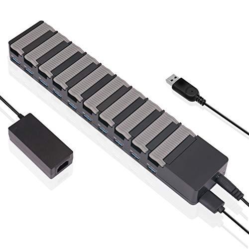 SOWTECH USB3.0ハブ 高速10ポート スイッチ付 電源付き セルフパワー 10 port hub 防塵カバー付 (10ポート60W)