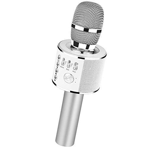 Verkstar Bluetooth カラオケマイク ポータブルスピーカー 高音質カラオケ機器 Bluetoothで簡単に接続 無線マイク 一人でカラオケ イヤフォンジャック付き Android iPhoneに対応(シルバー)