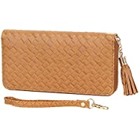 KooL Hop Women Leather Woven Long Wallet Zipper Tassel Handbag