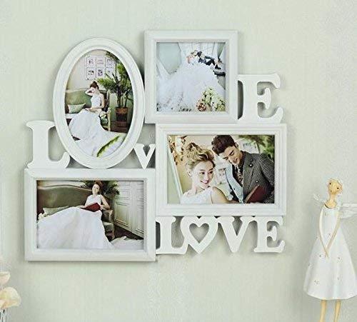 ハイセンス LOVE & LOVE デザイン おしゃれな 白い 4穴6インチフォトフレーム 新婚 ウエディング プレゼント カップルご夫婦に 壁掛け 卓上 写真4枚