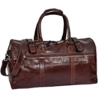 Real Leather Holdall Cross Body Duffle Organiser Weekend Sports Bag Porto Brown