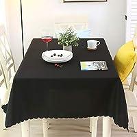 単色 ポリエステル テーブルクロス テーブル カバー, ビュッフェ テーブルに最適, 第三者, 休日の夕食, 結婚, バンケット感謝祭-ブラック 直径 260cm