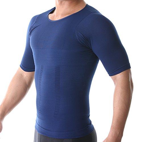 azalee 加圧 スポーツシャツ コンプレッションウェア 半袖 ラウンドネック 吸汗速乾 メンズ ネイビー XL