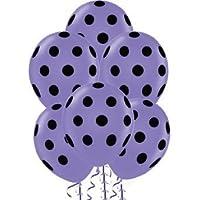 ドット柄バルーン11 inプレミアムラベンダーwith手織り印刷ブラックドットPkg / 12