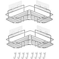 Danpix 浴室用ラック2個セット 収納ラック シャワーラック 304ステンレス鋼 取り外し可能なフック付き壁に穴を開…